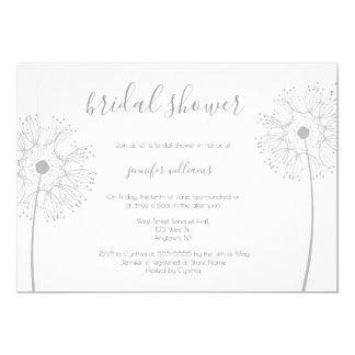 Silver dandelion floral bridal shower invitations