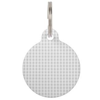 Silver Dandelion Gingham Check Plaid Pattern Pet ID Tag