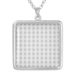 Silver Dandelion Gingham Check Plaid Pattern Silver Plated Necklace