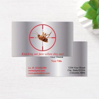 Silver Dead Roach Pest Service 2 Sided Business Card