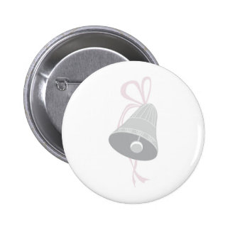 Silver Decorated Wedding Bell with Pink Bow 2 Inch Round Button
