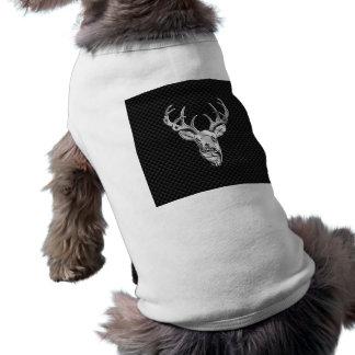 Silver Deer Buck on Carbon Fiber Style Decor Tee