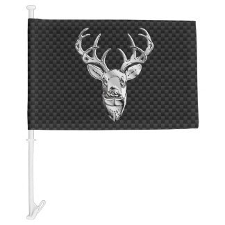 Silver Deer Buck on Carbon Fiber Style Print Car Flag