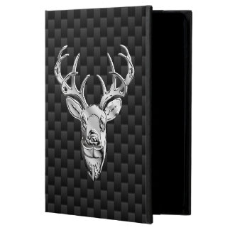 Silver Deer Design on Carbon Fiber Style Print iPad Air Cover