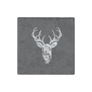 Silver Deer Head in Carbon Fiber Style Stone Magnet