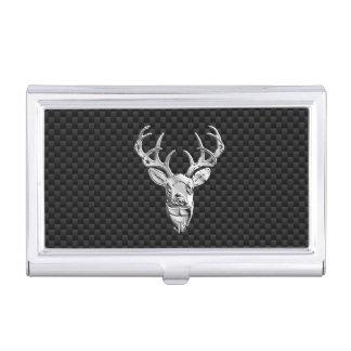 Silver Deer Head on Carbon Fiber Style Decor Business Card Holder