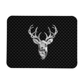 Silver Deer Head on Carbon Fiber Style Decor Magnet