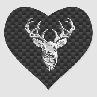 Silver Deer on Black Carbon Fiber Style Print Heart Sticker