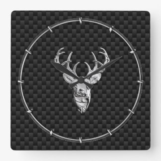 Silver Deer on Black Carbon Fiber Style Print Square Wall Clock