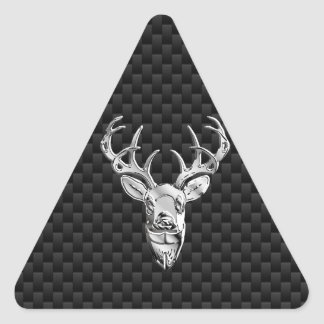 Silver Deer on Black Carbon Fiber Style Print Triangle Sticker