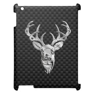 Silver Deer on Carbon Fiber Style Print Case For The iPad