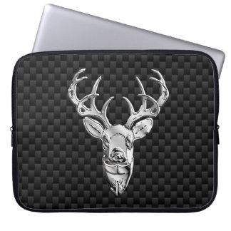 Silver Deer on Carbon Fiber Style Print Computer Sleeve