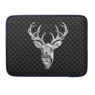 Silver Deer on Carbon Fiber Style Print Sleeve For MacBook Pro