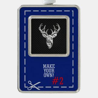 Silver Deer Scene on Carbon Fiber Style Print Christmas Ornament