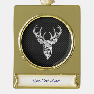 Silver Deer Trophy on Carbon Fiber Style Print Gold Plated Banner Ornament