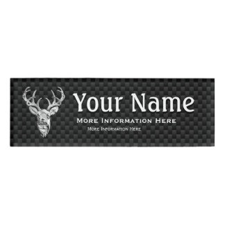 Silver Deer Trophy on Carbon Fiber Style Print Name Tag