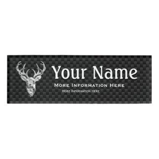 Silver Deer Trophy on Carbon Fiber Style Print Name Tag