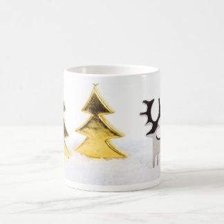 Silver deer with golden Christmas trees in snow Coffee Mug