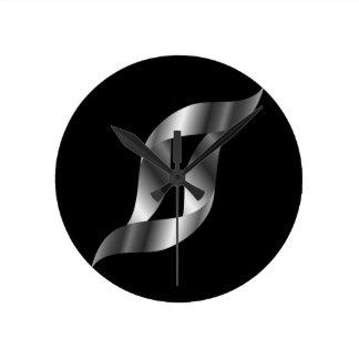 Silver design element round clock