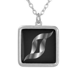Silver design element square pendant necklace
