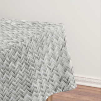 Amazing Silver Diagonal Basket Weave Geometric Pattern Tablecloth