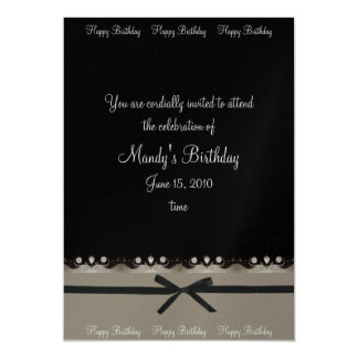 Silver, Diamond and Black Birthday Invitations