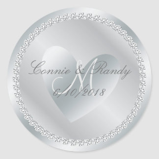 Silver Diamond and Heart Monogram Wedding Sticker