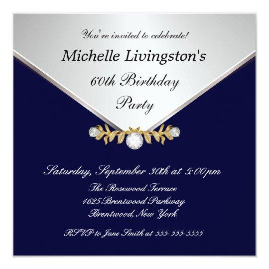 Silver Diamond Brooch Navy Blue Womens Invitations