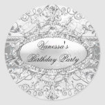 Silver Diamond & Damask Birthday Sticker Round Stickers
