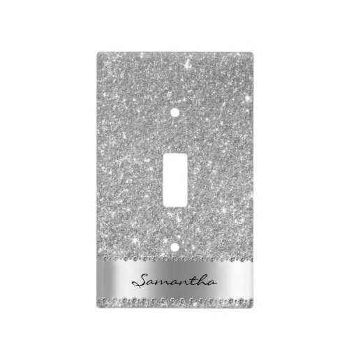 Silver Diamond Glitter Bling Girly Light Switch Cover