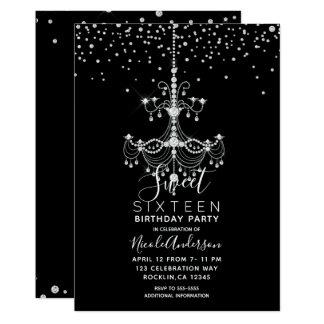 Silver Diamond Glitter Chandelier Sweet 16 Party Card