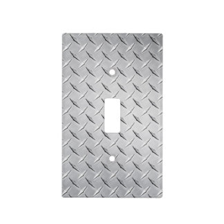Silver Diamond Plate Light Switch Cover