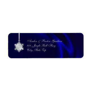 Silver Diamond Snowflake Blue Silk Holiday Return Address Label