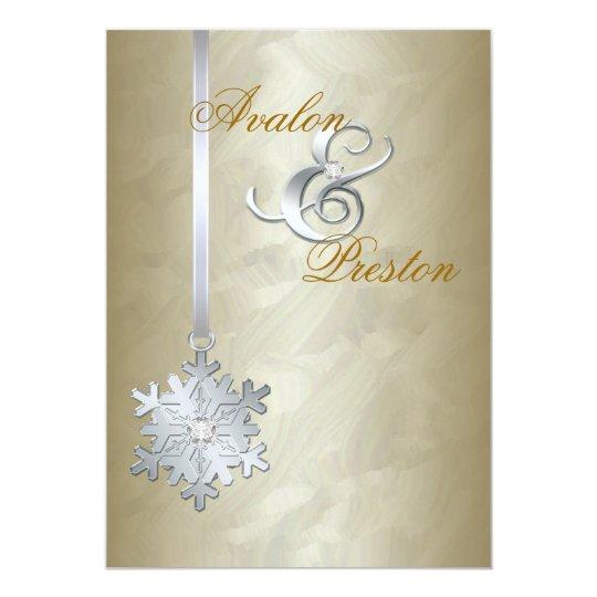 Silver Diamond Snowflake Gold Foil Invitation
