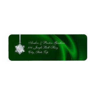Silver Diamond Snowflake Green Silk Holiday Return Address Label