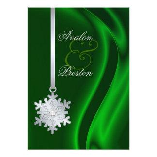 Silver Diamond Snowflake Green Silk Invitation