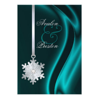 Silver Diamond Snowflake Teal Silk Invitation