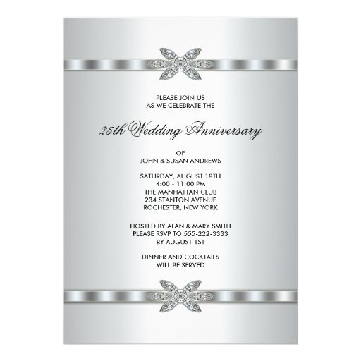 Silver Diamonds 25th Anniversary Party Invitations