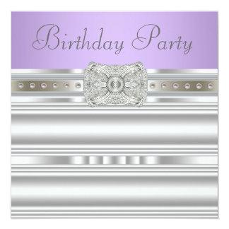 Silver Diamonds Lavender Purple Birthday Party Card