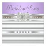 Silver Diamonds Lavender Purple Birthday Party Invitations