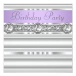Silver Diamonds Lavender Purple Birthday Party Announcement