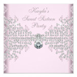 Silver Diamonds Pink Sweet 16 Birthday Party Card