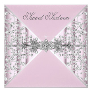 "Silver Diamonds Pink Sweet 16 Birthday Party 5.25"" Square Invitation Card"