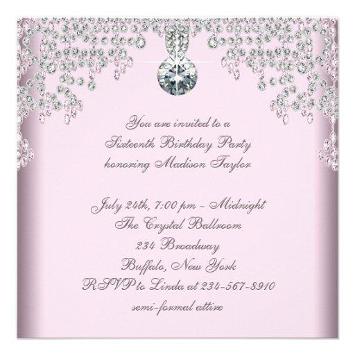Silver Diamonds Pink Sweet 16 Birthday Party Custom Invitations (back side)