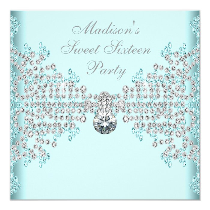 Silver Diamonds Teal Blue Sweet 16 Birthday Party Card