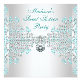 Silver Diamonds Teal Blue Sweet 16 Birthday Party Personalized Invitation