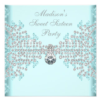 Silver Diamonds Teal Blue Sweet 16 Birthday Party Custom Announcement