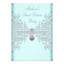 """Silver Diamonds Teal Blue Sweet 16 Birthday Party 5.25"""" Square Invitation Card"""