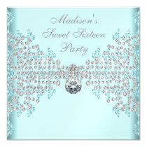 Silver Diamonds Teal Blue Sweet 16 Birthday Party 5.25x5.25 Square Paper Invitation Card