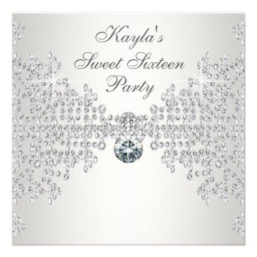 Silver Diamonds White Sweet Sixteen Birthday Party Personalized Invite